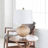 Zavloch Table Lamp with Tan Base and White Shade