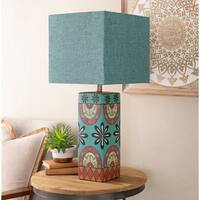 Noshiro Table Lamp with Blue Base and Blue Shade
