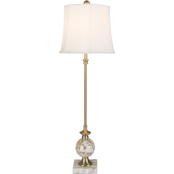 Tyera Table Lamp with Gold Base and White Shade