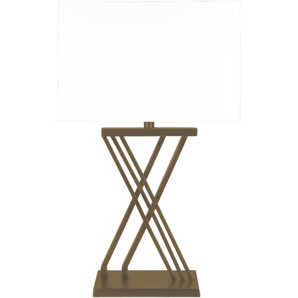 Liskig Table Lamp with Brown Base and White Shade