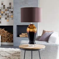 Walthorn Table Lamp with Gold Base and Brown Shade