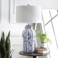 Anoia Table Lamp with Blue Base and White Shade