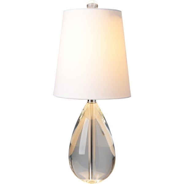 Salome Table Lamp with Grey/Clear Base and White Shade