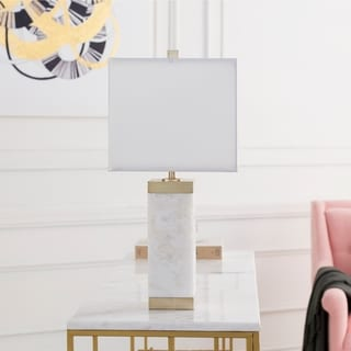 Tehvea Table Lamp with White Base and White Shade
