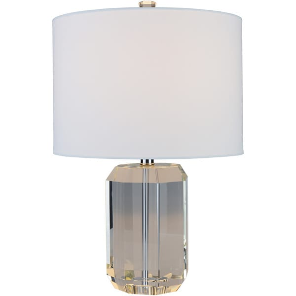 Isobel Table Lamp with Grey/Clear Base and White Shade