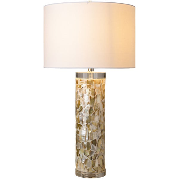 Myrtle Table Lamp with Tan Base and White Shade