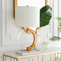 Cairno Table Lamp with Brown/Clear Base and White Shade