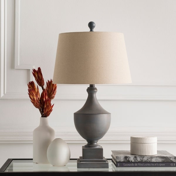 August Grey Traditional Pedestal Table Lamp