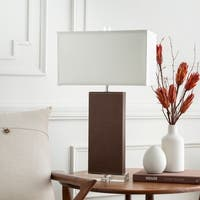 Graeme Table Lamp with Brown Base and White Shade