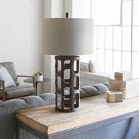 Fyl Table Lamp with Brown Base and Off-White Shade