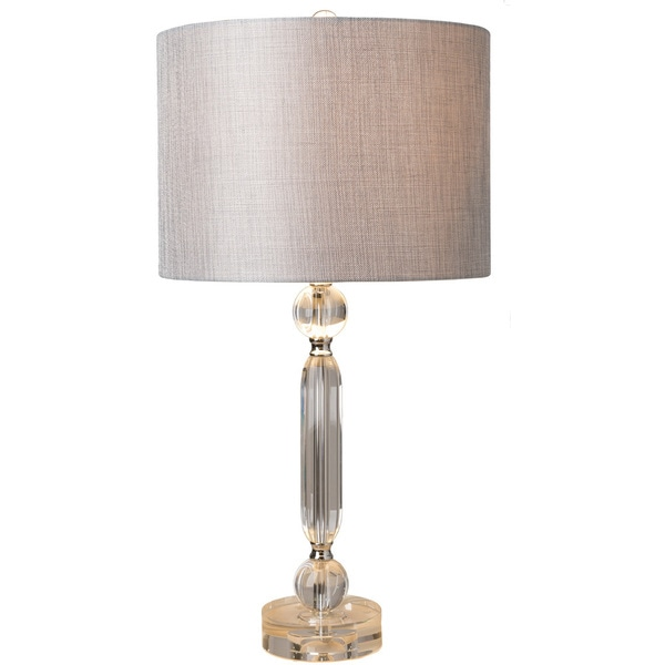 Shop Jacinta Table Lamp With Silver Clear Base And Grey Shade On