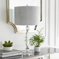 Jacinta Table Lamp with Silver/Clear Base and Grey Shade