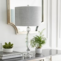 La rochelle table lamp with glass base free shipping today jacinta table lamp with silverclear base and grey shade aloadofball Image collections