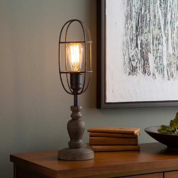 Stromlo Table Lamp with Brown Base and Silver Shade