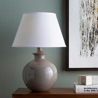 Dernald Table Lamp with Grey Base and White Shade