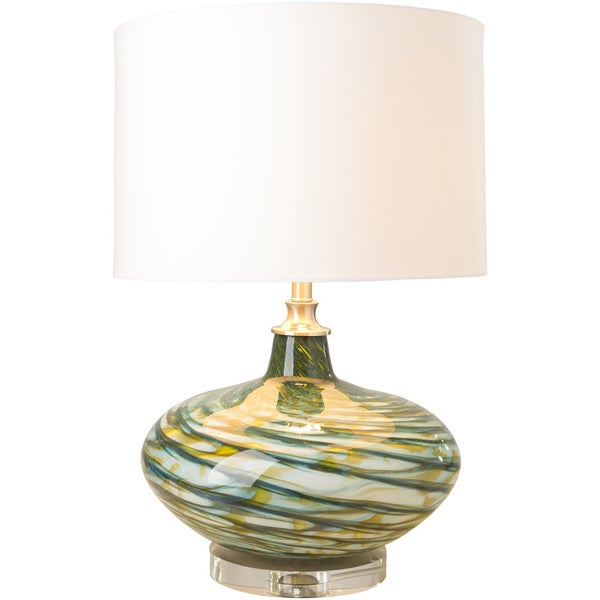 Shop Blackhall Table Lamp With Blue Yellow Base And White Shade