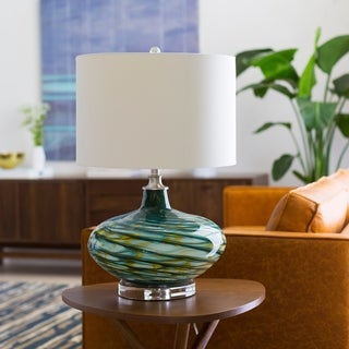 Blackhall Table Lamp with Blue/Yellow Base and White Shade