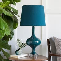 Jalsohi Table Lamp with Green Base and Blue Shade
