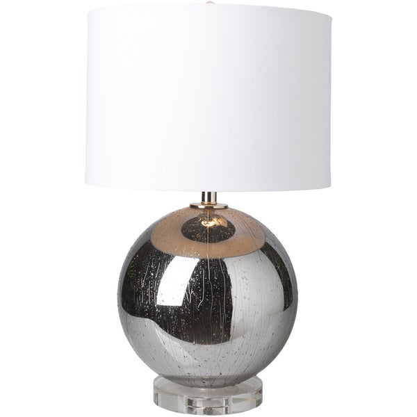 Hines Peak Table Lamp with Silver Base and White Shade