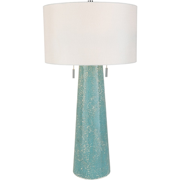 Ensazi Table Lamp with Blue/Clear Base and White Shade