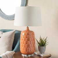 Altabaora Table Lamp with Orange Base and White Shade