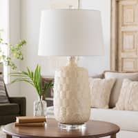Iyalia Table Lamp with Off-White Base and White Shade