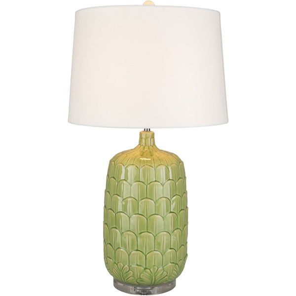 Aroabatla Table Lamp with Green Base and White Shade