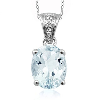 Jewelonfire Sterling Silver 1.66ct TW Aquamarine and White Diamond Accent Pendant