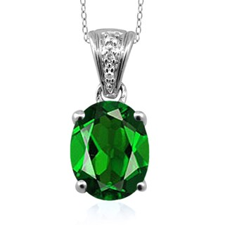 Jewelonfire Sterling Silver 1 3/5ct TW Chrome Diopside and White Diamond Accent Pendant