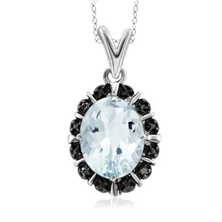 Jewelonfire Sterling Silver 1 5/8ct TW Aquamarine and Black Diamond Accent Pendant