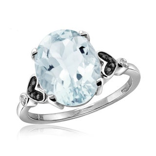 Jewelonfire Sterling Silver 1.66ct TW Aquamarine and 1 1/5ct TDW Black and White Diamond Ring (H-I, I2-I3)
