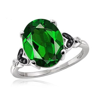 Jewelonfire Sterling Silver 1 3/5ct TW Chrome Diopside and 1 1/5ct TDW Black and White Diamond Ring (H-I, I2-I3)
