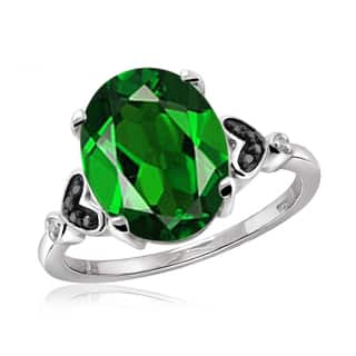 Jewelonfire Sterling Silver 1 3/5ct TW Chrome Diopside and 1 1/5ct TDW Black and White Diamond Ring (H-I, I2-I3)|https://ak1.ostkcdn.com/images/products/14442856/P21007181.jpg?impolicy=medium