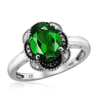 Jewelonfire Sterling Silver 1 3/5ct TW Chrome Diopside and Diamond Accent Ring