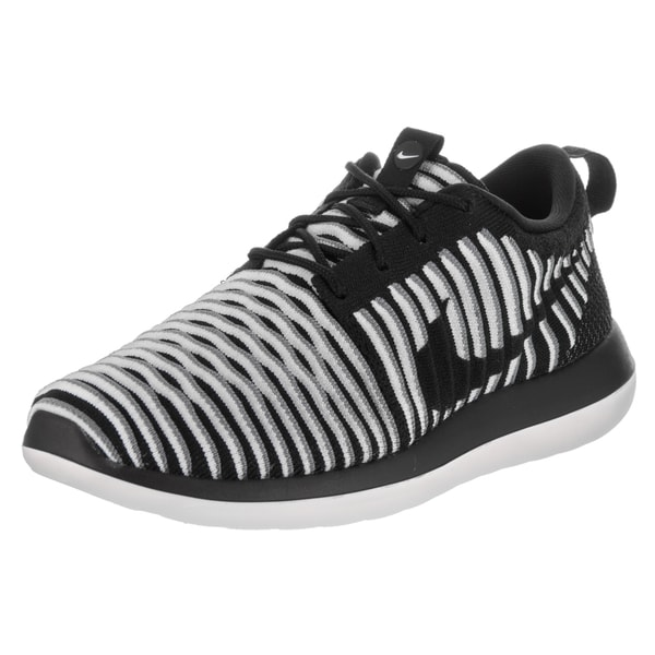 c82038b470692 Shop Nike Women s Roshe Two Flyknit Black Textile Running Shoes ...