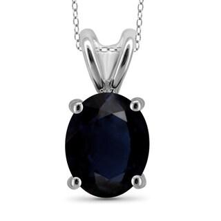 Jewelonfire Sterling Silver 2ct TW Sapphire Pendant