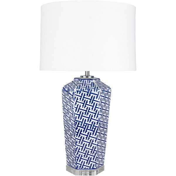 Gosa Table Lamp with Blue Base and White Shade