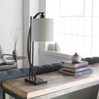 Haliene Table Lamp with Brown Base and White Shade