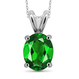 Jewelonfire Sterling Silver 1 3/5ct TW Chrome Diopside Pendant