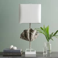 Beals Table Lamp with Tan Base and White Shade