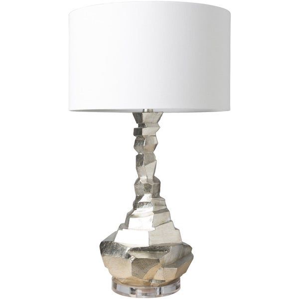 Zevgari Table Lamp with Silver Base and White Shade