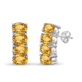 Jewelonfire Sterling Silver 3 3/4ct TW Citrine Earrings