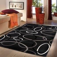 "LR Home Adana Charcoal Circles Indoor Area Rug - 5'3"" x 7'5"""