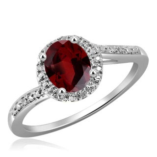 Jewelonfire Sterling Silver 1ct TW Garnet and 1 1/5ct TDW White Diamond Ring (H-I, I2-I3)