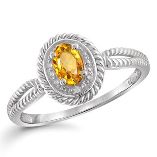 Jewelonfire Sterling Silver 1/2ct TW Citrine and White Diamond Accent Ring
