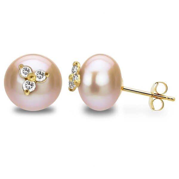 96e6624a8 DaVonna 14k Yellow Gold CZ Flower Charms Button Shape 9-10mm Pink  Freshwater Pearl Stud