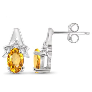 Jewelonfire Sterling Silver 7/8ct TW Citrine and White Diamond Accent Earrings