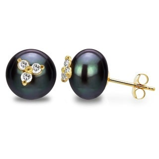 DaVonna 14k Yellow Gold CZ Flower Charms Button Shape 9-10mm Black Freshwater Pearl Stud Earrings