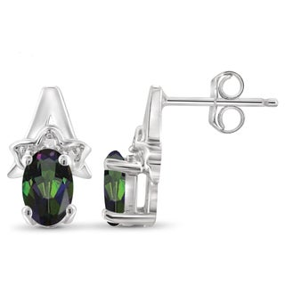 Jewelonfire Sterling Silver 7/8ct TW Mystic Topaz and White Diamond Accent Earrings