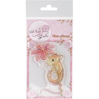 "Wild Rose Studio Ltd. Clear Stamp 3.5""X3""-Mouse & Flower"